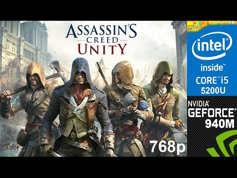 Assassin's Creed Unity on HP Pavilion 15-ab032TX, Low Setting 768p, Core i5 5200u + Nvidia 940m