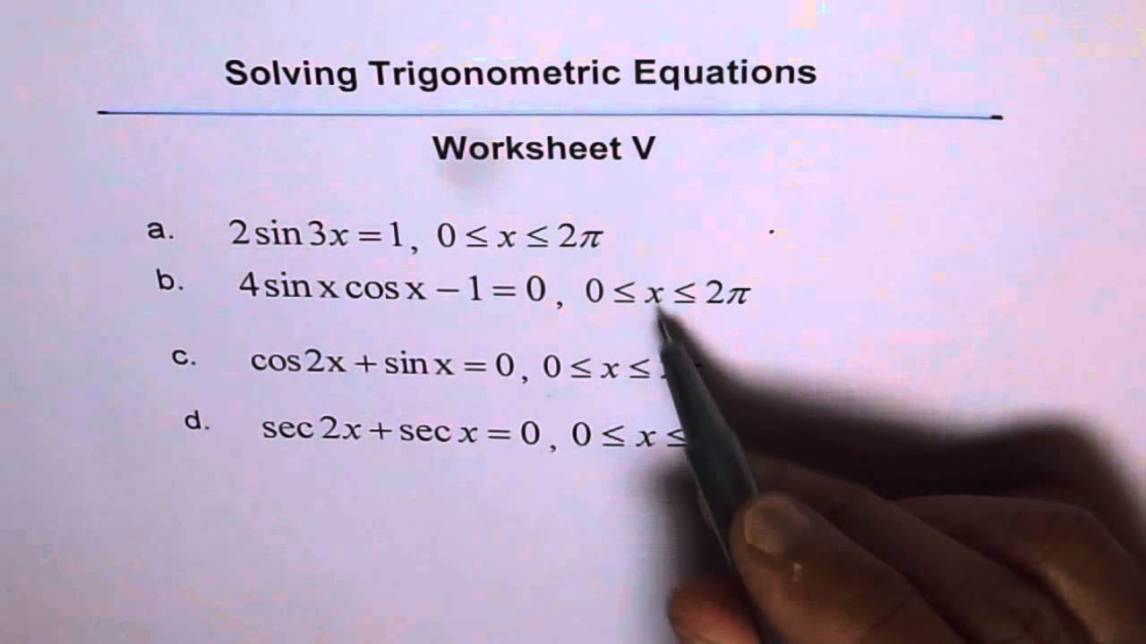 Trigonometric Equations Double Angles Worksheet 5   YouTube Trigonometric Equations Double Angles Worksheet 5