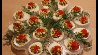 Фаршированные яйца с красной икрой от videokulinaria.ru