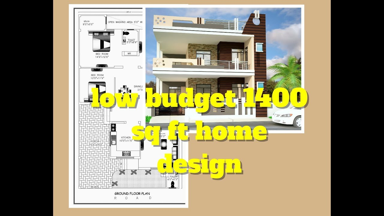 Low Budget 1400 Sq Ft Home Design | Elevation Design | Floor Plan | Indian  Small House Design Ideas
