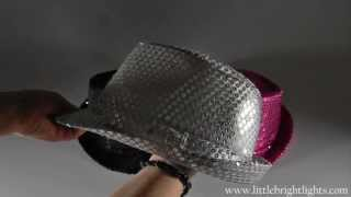 LED Lighted Fedora Hat with Sequins, Battery Op., Steady or Flashing-Demo