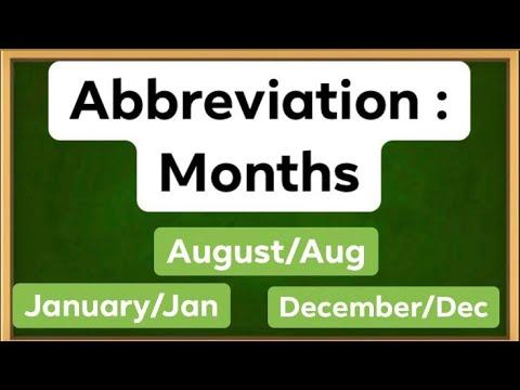 Abbreviation: Months   Free English lesson