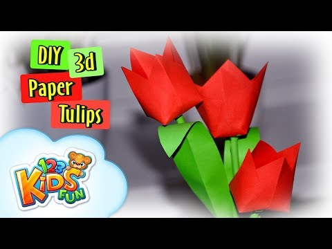 DIY by Creative Mom - How to make paper tulips flowers - 3d paper flower tulips