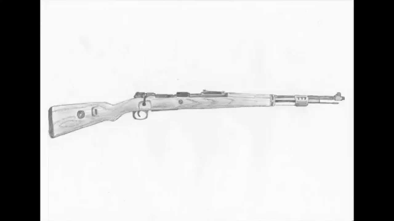 How To Draw A Rifle Kar98k Youtube