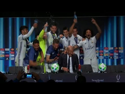 Jubilant Real Madrid players gatecrash Zidane's press conference