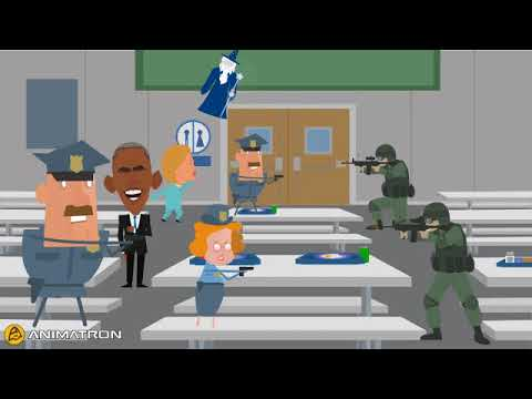 The democrats and there guards  party in a school war zone