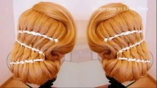 Плетение Двойная нить с лентами. Элегантная причёска. Видео-урок