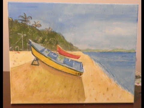 Simple Acrylic beach landscape