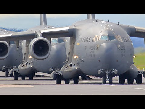 Gigantic Fleet of US C-17 Take Off One by One During Elephant Walk
