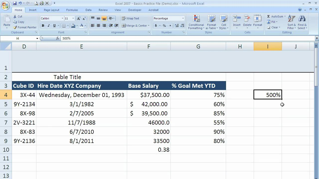 How To Use Percentage Formatting In Excel 2007 (excel 07011)