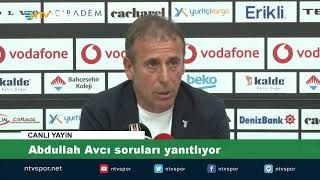 Beşiktaş Teknik Direktörü Abdullah Avcı basın toplantısı düzenliyor