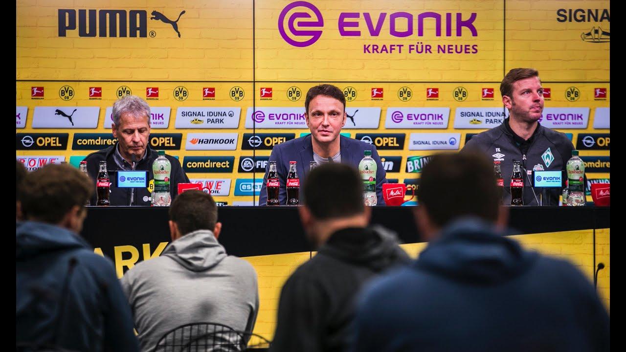 BVB-PK mit Favre und Kohfeldt nach dem 2:2 gegen Bremen