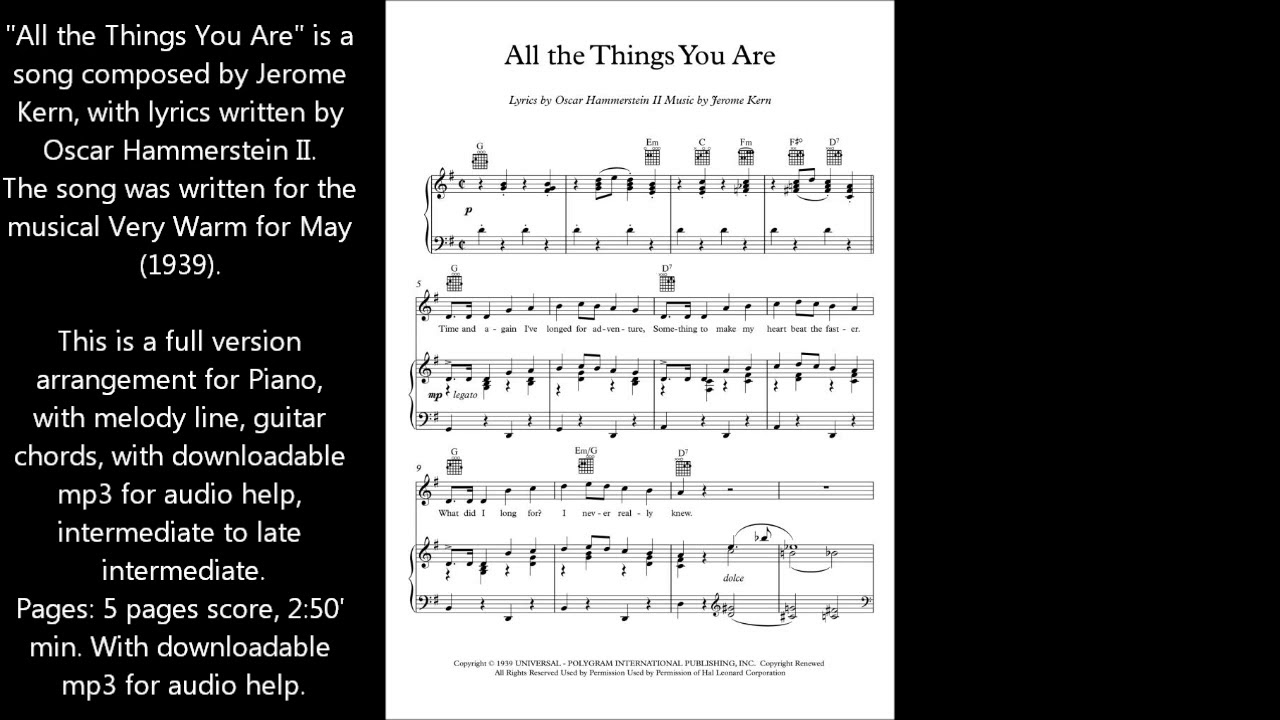 All the things you are piano sheet music youtube all the things you are piano sheet music hexwebz Choice Image