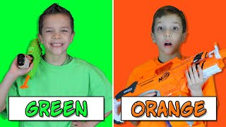 NERF BATTLE Using Only ONE Color with EXTREME Nerf Blasters! (Eli vs Liam Nerf Challenge 3)