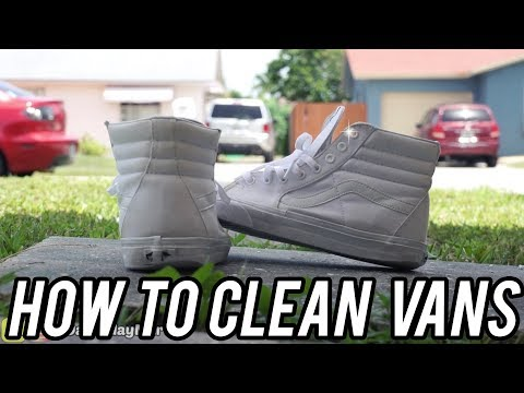 HOW TO CLEAN WHITE VANS SK8 HI SHOES ❄️