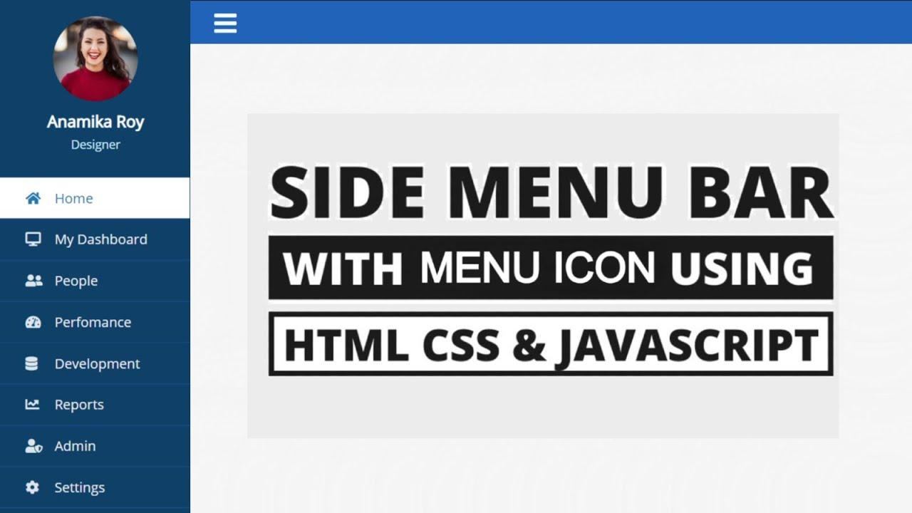 Sidebar Menu Using HTML, CSS  and javaScript