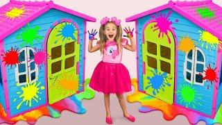 Sasha và bạn bè vẽ nhà chơi và tham gia vào một thử thách tô màu