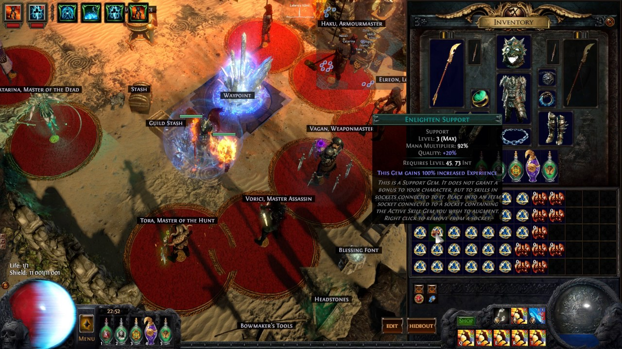 Path Of Exile Vaal 33 X Enlighten Lvl3 Youtube Cast when damage taken level 1. path of exile vaal 33 x enlighten