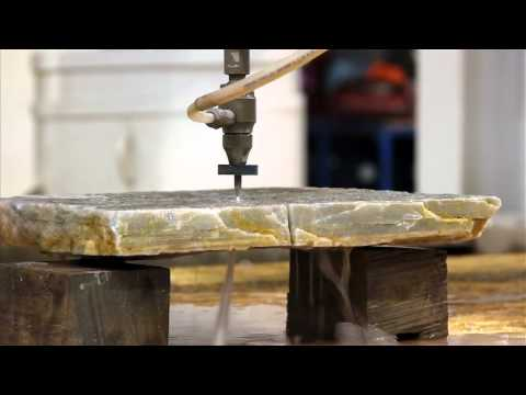 Cutting Rock with water and abrasive on our Jet-Edge water jet machines @ 60,000 PSI