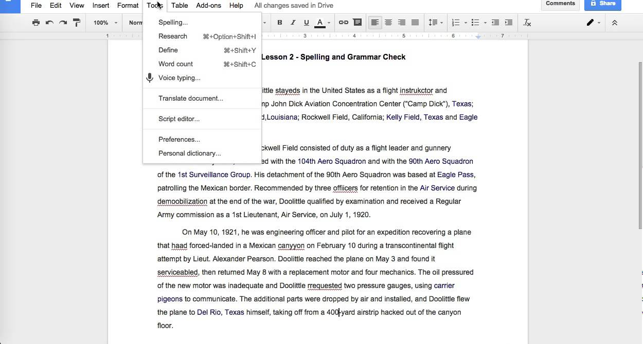 google docs basics v2 spelling and grammar check youtube