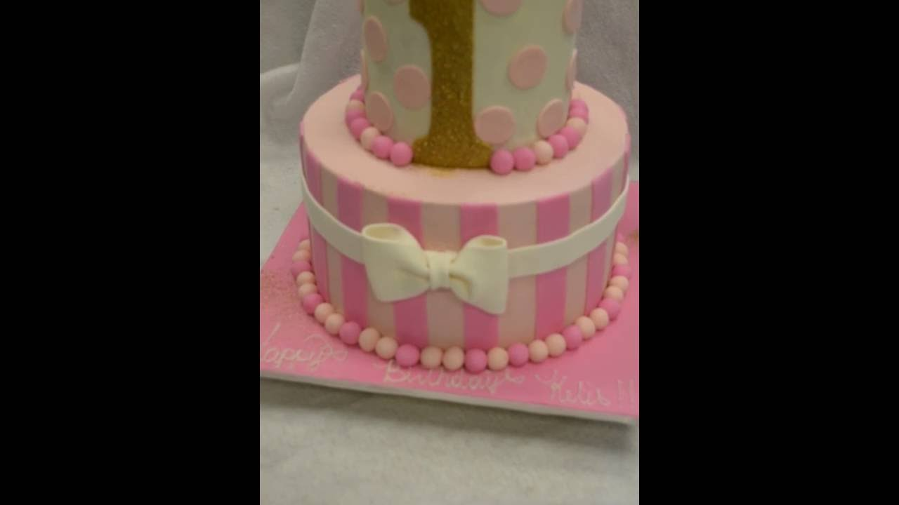 Pink And White First Birthday Cake Youtube