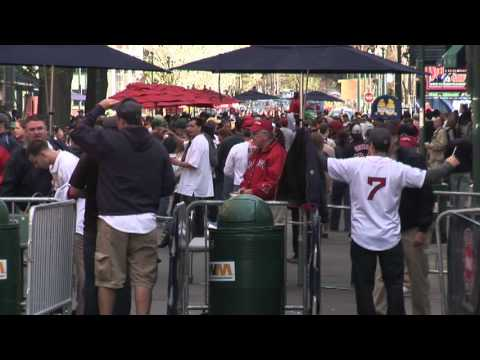 Boston Red Sox Fans going thru Security outside Fenway Park Stadium for a Major League Baseball Game