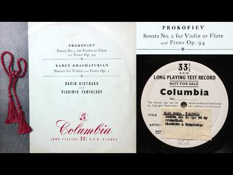 Prokofiev: Sonata No 2 - I. Moderato (David Oistrakh, violin; Vladimir Yampolsky, piano)
