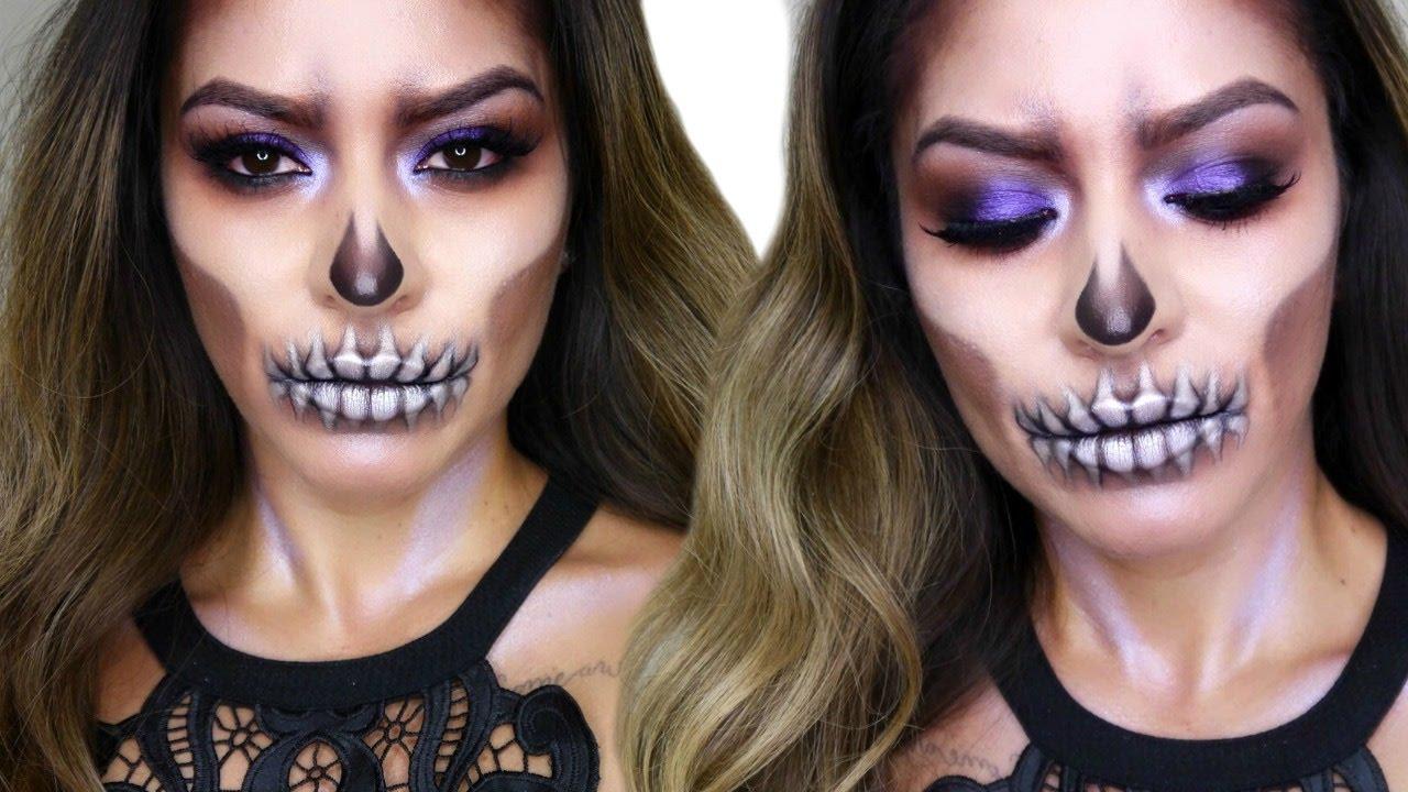 Glam Skull Makeup Tutorial   Halloween Makeup - YouTube