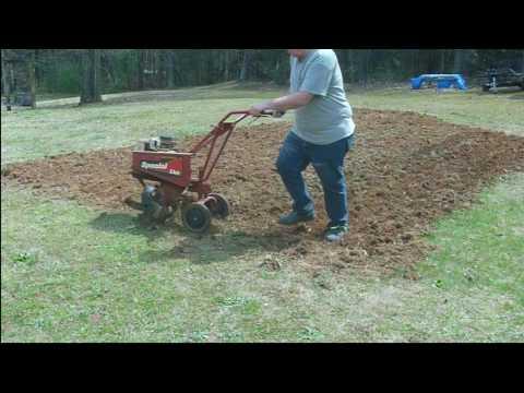 Tilling a small backyard garden spot