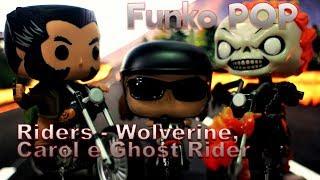 Funko Pop Riders : Ghost Rider (Nº 33), Carol Danvers  (Nº 57), Wolverine Rider (Nº 26)