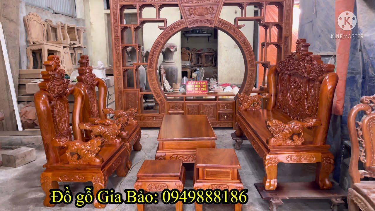 🔴 Combo bộ bàn ghế Nghê Bảo Đỉnh và Kệ tivi trang trí làm vách ngăn phòng gỗ gõ đỏ về Hà Nam