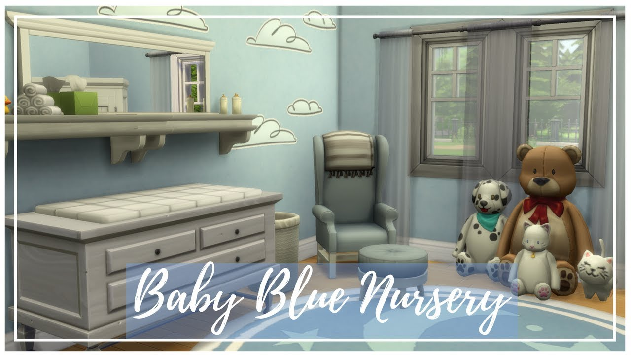 SIMS 4 ROOM BUILD | BABY BLUE NURSERY | WITHOUT CC - YouTube
