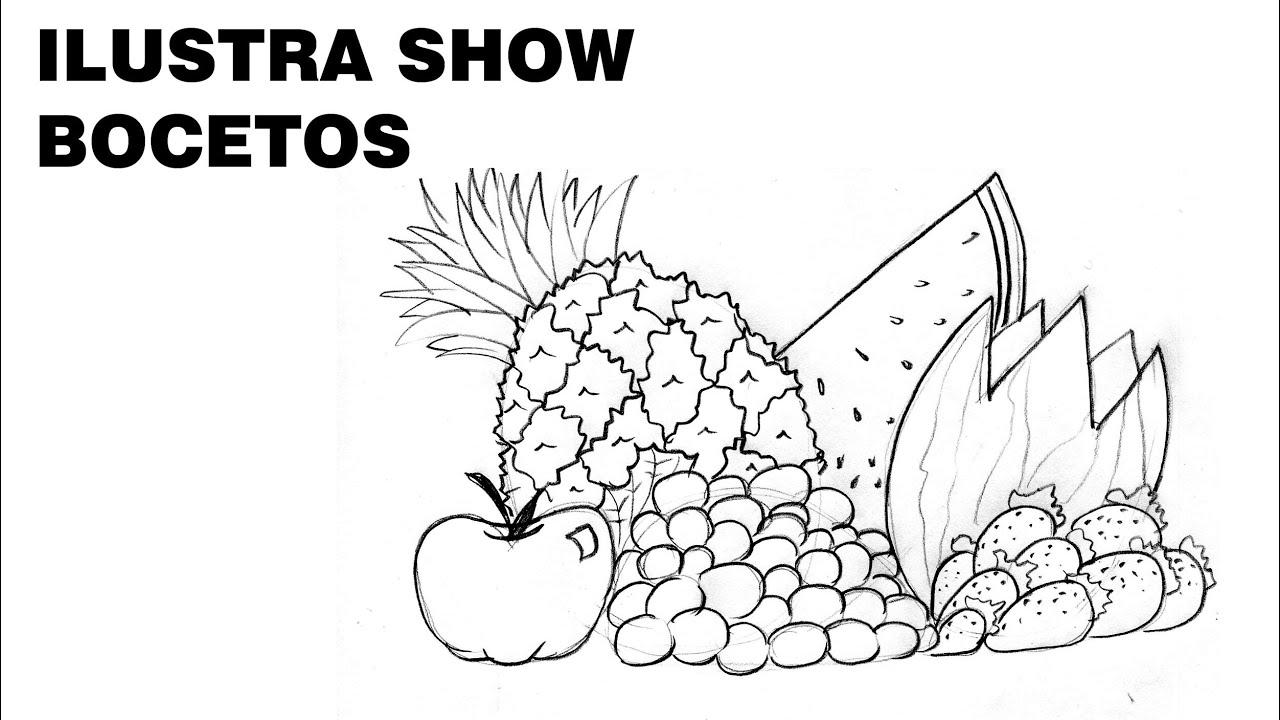Cómo dibujar un BODEGÓN DE FRUTAS sencillo Tutorial ILUSTRA SHOW ...