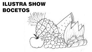 Cómo dibujar un BODEGÓN DE FRUTAS sencillo Tutorial ILUSTRA SHOW