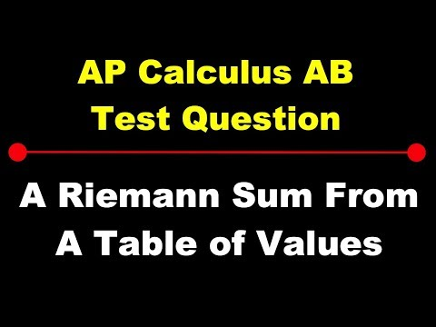 AP Calculus AB: A Riemann Sum from a Table of Values