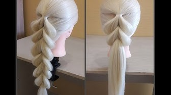 Французская коса в обратном положении🌺Легкий способ самой себе сделать косу.Коса на резинках.