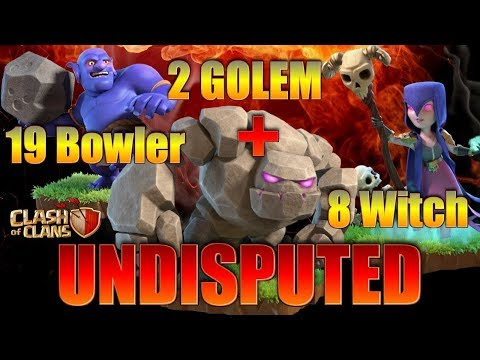 8 Witch + 2 Golem + 19 Bowler TH10 3 Star Attack | TH10 War Strategy Clash of Clans | Thang COC
