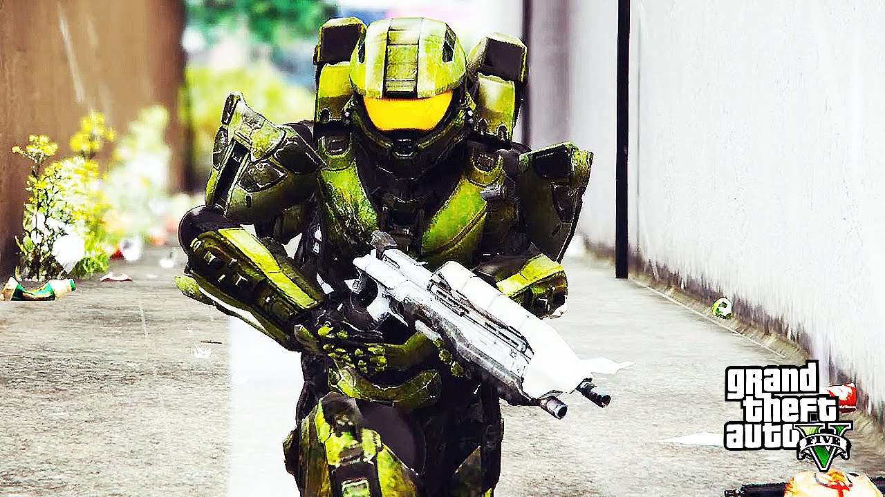 Master Chief Halo VS. Hulk (GTA 5 Mods Funny Moments ...  Master Chief Ha...