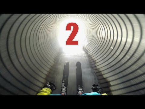 Skiing through pipe 2
