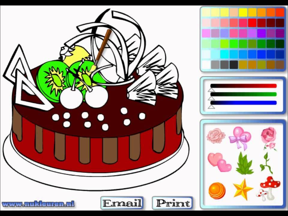 Раскраска онлайн шоколадный торт - кулинарные игры - YouTube
