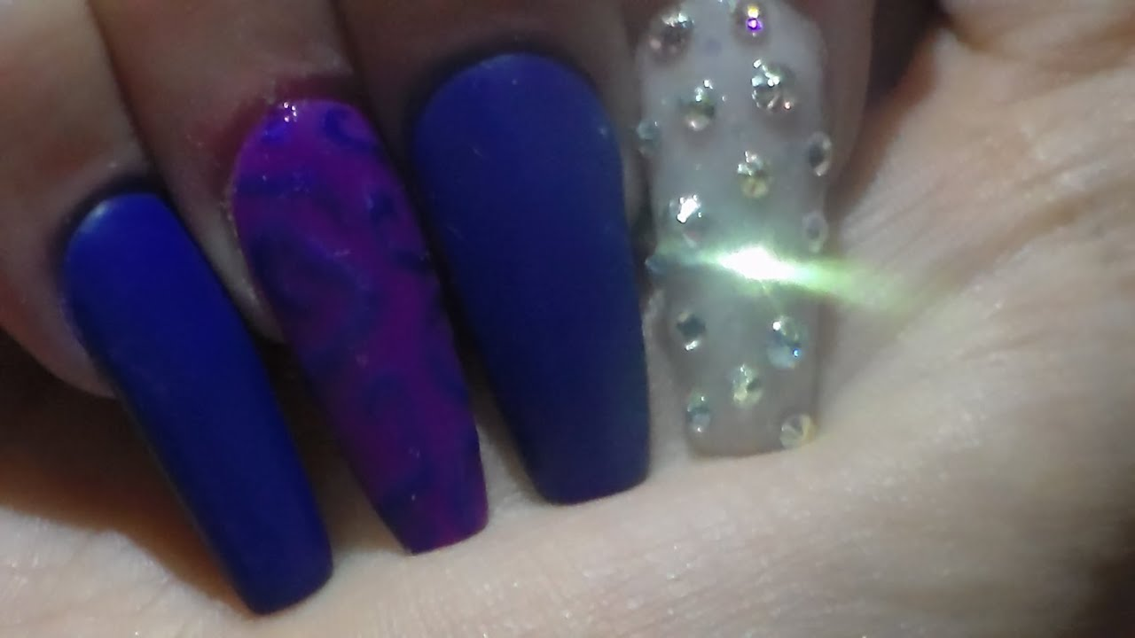 Acrylic Nails Matte Blue | Swarovski Crystals - YouTube