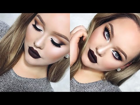 Extreme Cat Eyes U0026 CHOCOLATE Lips Glam Holiday Makeup - YouTube