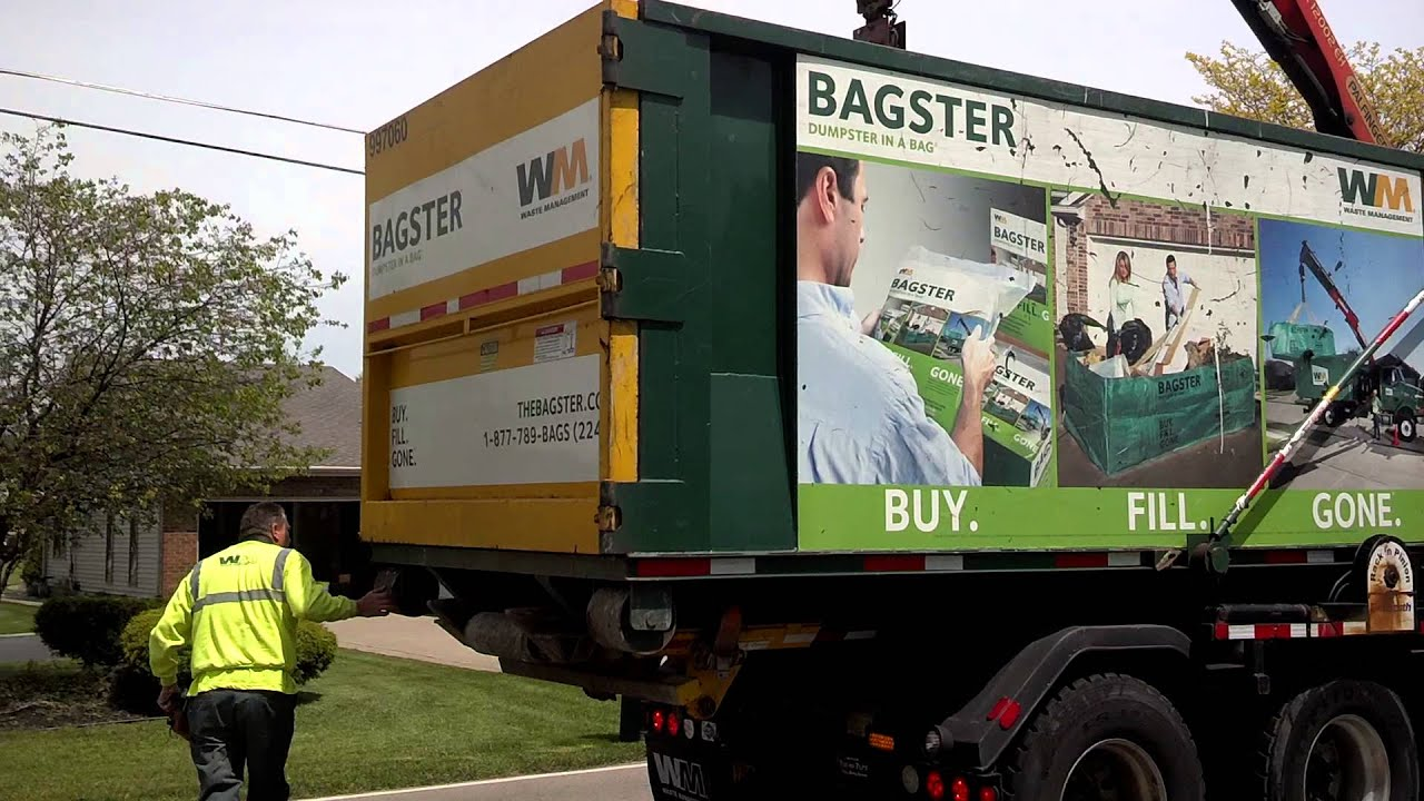 Bagster by Waste Management getting picked up - YouTube