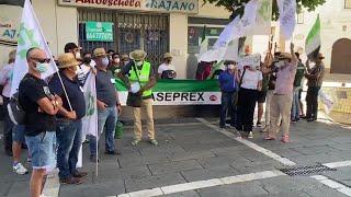 Agricultores protestan frente a la Asamblea de Extremadura para pedir medidas de apoyo al secto