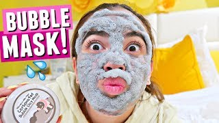 TRYING A BUBBLE FACE MASK!!💦 Weird Carbonated Bubble Clay Mask