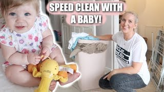 CLEANING WITH A BABY | SPEED CLEAN | Sarah-Jayne Fragola