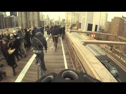 Crazy Biker on Brooklyn Bridge