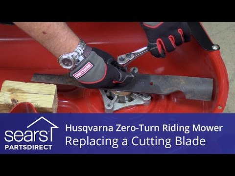 how to lift a riding mower to change blades