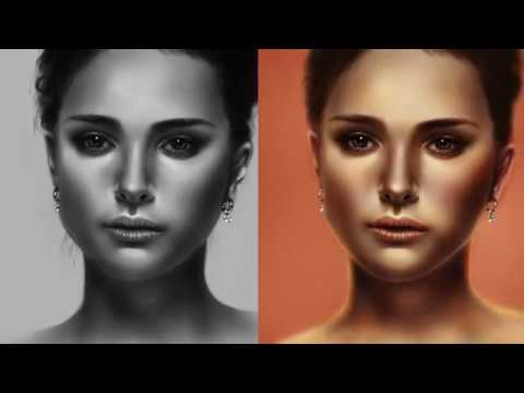 Grayscale to color in Photoshop Natalie Portman Digital Painting