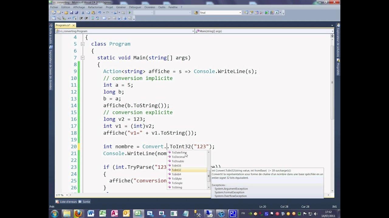Tutoriel 7 C# en français - Les conversions de type de donnée